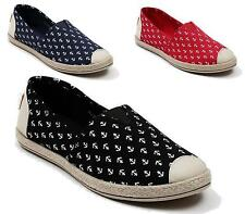 WOMENS SLIP ON FLAT ESPADRILLES SUMMER SHOES ANCHOR PRINT CASUAL PUMPS SIZE 3-8