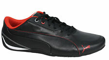 Puma Drift Cat 5 Lace Up Black Red Leather Synthetic Trainers 304687 07 U131