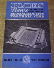BIRMINGHAM CITY 1964/65 - HOME DIVISION ONE PROGRAMMES
