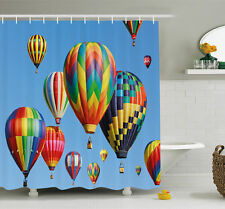 Ambesonne Nostalgic Hot Air Balloons in Sky Flying Journey Shower Curtain Set