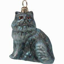 Sitting Blue Colored Persian Cat Polish Glass Christmas Ornament Decoration New