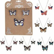 Fashion Resin Printing Butterfly Shape Necklace Earrings Set Women Lady Jewelry