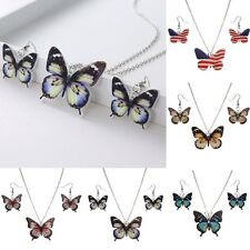Charm Resin Butterfly Printing Necklace Earrings Set Women Lady Wedding Jewelry