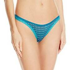 NWT Women's Calvin Klein Star Print Lace Trimmed Thong Turquoise/Cream Size S-L