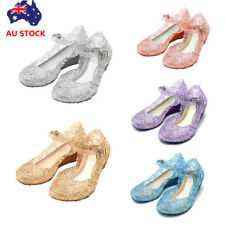 Kids Girls Summer Slip On Strap Sandals Princess Wedding Party Jelly Shoes