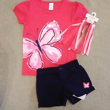 NWT Gymboree Outlet Girls Island Hopper Sequin Butterfly Top/Shorts/PonyO Size 6