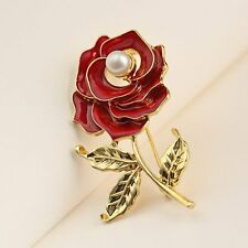 Fashion Gold Plated Crystal Rhinestone Pearl Red Rose Flower Brooch Pin Jewelry