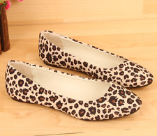 Fashion Womens Suede Ballet Casual Shoes Lady Comfy Leopard Print Flat Shoes