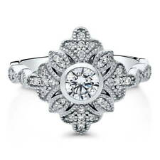 BERRICLE Sterling Silver CZ Art Deco Leaf Fashion Ring