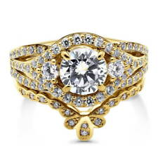 BERRICLE Gold Over Silver CZ 3-Stone Crown Flower Engagement Ring Set 2.155 CTW