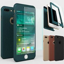 360° Hybrid Hard Shock-proof Case + Tempered Glass Cover for iPhone 7 Plus 6 6s
