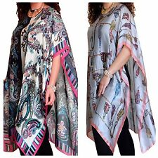 Womens Kaftan Ladies Silk Tunic Top Beach Cover Up Party Size 8 10 12 14 16 18