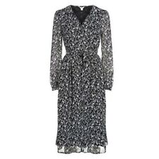 Monsoon Black & White Deer Print Chiffon Tie Neck Dress Lined with Long Sleeves