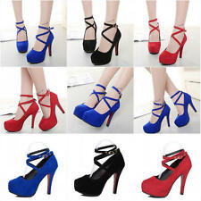 Fashion Womens Ankle Strap Platform Stiletto Wedding High Heels Pumps Shoes
