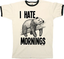 I Hate Mornings Funny Panda Mens RINGER T-Shirt Birthday Gift