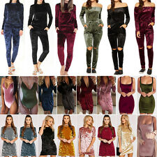 Womens Crushed Velvet Tracksuits Bodysuit Casual Jumpsuit Leotard Top Wrap Dress