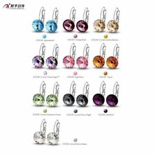 white Gold Plate Womens Round Gemstone Hoop Earrings Free Shipping Statement