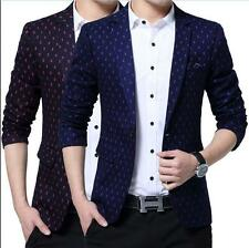 Mens Coat Slim Fit Business Casual Dress Suit One Button Polka Dots Blazer