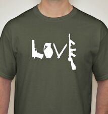 Love t shirt vintage style hand screen printed NRA funny S-5XL olive