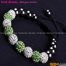 10mm Rhinestone CZ Crystal Hematite Pave Disco Ball Beads Bracelet  Adjustable