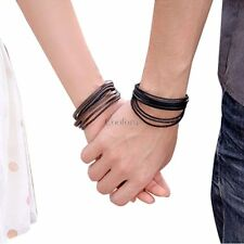 Unisex Multilayer Wrap Synthetic Leather Braided Rope Adjustable Bracelets 35DI