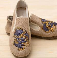 Mens Canvas Straw Weave Embroidery Loafers Casual Retro Slip On Shoes NEW Sz 44