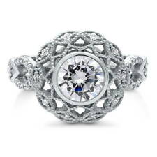 BERRICLE Sterling Silver Round Cut CZ Woven Milgrain Halo Fashion Cocktail Ring