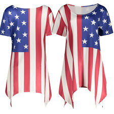 Women Lady American Flag Print Round Neck Vest Casual Tank Tops Blouse T-Shirt