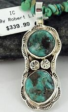 $530Tag Navajo .925 Sterling Silver Natural Turquoise Native American Necklace