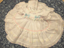 DREAM GIRLS ROMANY SPANISH WHITE MULTI PASTEL TRIM LINED DRESS 0-18 MONTHS