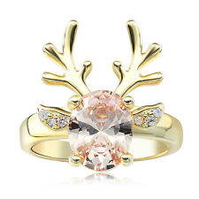 18K Yellow Gold Filled Women Chirstmas Deer Crystal Wedding Rings Party Size 6-9