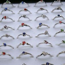 10-100X Wholesale Lots Fashion Jewelry Crystal CZ Rhinestone Silver Plated Rings