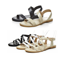 Women's Girls Leather Summer Sandals Beach Casual Flats Strap Shoes  Size 4-10.5