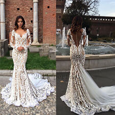 Sexy Mermaid Wedding Dresses Custom Lace Sheath Backless With Train Bridal Gowns