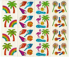 Vintage Hambly Glitter Sticker Strip- Shell Rainbow Flamingo Palm - You Choose
