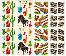 Vintage Hambly Glitter Sticker Strip- Wolf Cactus Music Note Siesta - You Choose