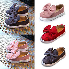 Kids Girls Moccasins Loafers Shoes Bowknot Suede Leather Slip-on Flat Pump Shoes