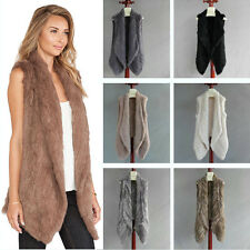 Knit Rabbit Fur Think Vest Long Collar Fur Waistcoat Vest Jacket Outwear Dress