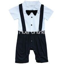 Newborn Baby Boy Infant Romper Bodysuit Gentlemen Outfit Clothes Bow Tie Set