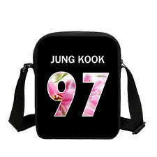 Black BTS Bangtan Boys Shoulder Bag Girls Small School Purse Zip Bag KPOP Custom