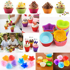 12X Soft Silicone Muffin Cup Liners Cupcake Bakeware Baking Chocolate Mold Mould