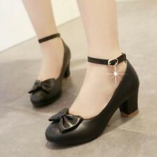 Womens Girl Bowknot Lolita Ankle Strap Pump Mary Janes Sweet Wedding court Shoes