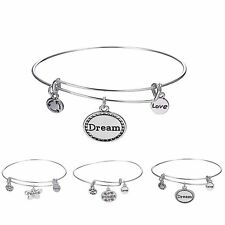 Fashion Women Lady Jewelry Silver Plated Bracelet Adjustable Letter Bangle Gifts