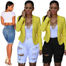 Trendy Women Ripped Destroyed Hole Denim Knee Length Shorts Skinny Ripped Jeans