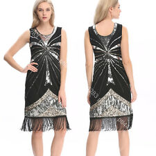 USA Gatsby Fringe Sequins 1920s Flapper Dress Charleston 20s 30s Costume Roaring
