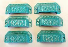LOT of 6 Drawer Pulls Bin Pull Cottage Chic Cast Iron Turquoise Silver