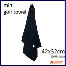 """Golf Tour Mini Towel 16"""" x13"""" for Golf Bag Buggy Trouser Cart with Keychain Hook"""