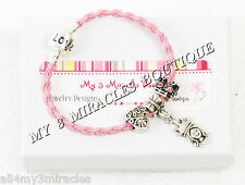 Girls Princess Charm Bracelet Pink Crown Braided Leather Pageant Queen Gift