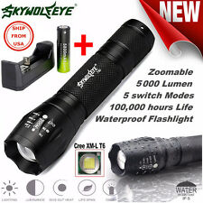 SKYWOLFEYE XML T6 LED Tactical Flashlight Zoom Military Torch + Battery Charger