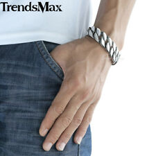 Boys Mens Chain 18mm 316L Stainless Steel Bracelet Silver Tone Curb Cuban Link